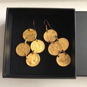 KENNETH LANE gold medallion earrings
